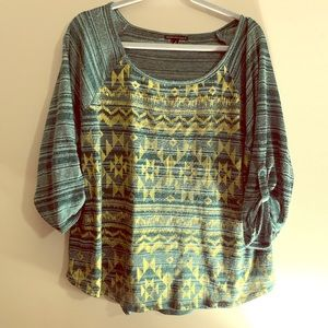 3/4 Length sleeve shirt with Aztec design